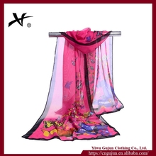 Spring new fashion women silk scarf chiffon shawls animal butterfly print thin long polyester scarves