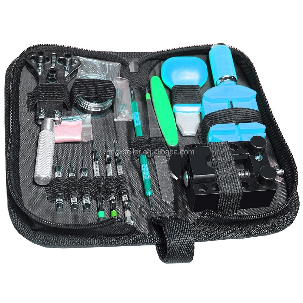 Professional Deluxe 150 PCS Wrist Watch Repair Tools Kit with Wrench Spring Bar and Back Case Cover Opener Knife Resizing Tool