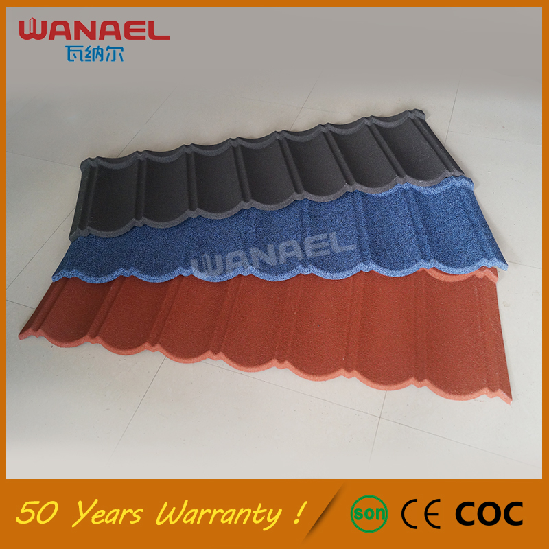 Roofing Shingles Guangzhou Wanael Classical Stone Coated Metal Corrugated Roof Tile, Better Substitute Fiber Cement Roof Tile