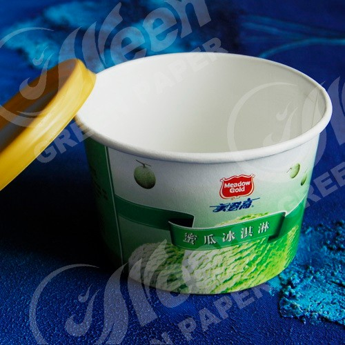 disposable ice cream cup paper bowl with custom logo printed