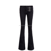 guangzhou factory 100% cotton double breasted bootcut loose fit flared jeans women
