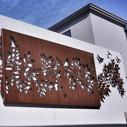 Outdoor Small Decorative Corten Steel Laser Cut Metal Palm Trees