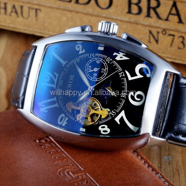 WJ-4669 wholesale luxury leather SEWOR no battery automatic mechanical watch