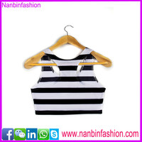 Nanbinfashion neswest wholesale women crop top sweat suit in black and white check