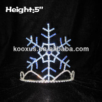 Cheap simple promotion blue crystal snowflake tiara for sale