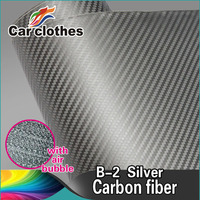 ROHS Certificate 1.52*30m 0.18mm silver air free bubbles 3d Carbon Fiber car wrapping removable vinyl