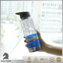 Plastic water bottle with straw/silicone band/colorful