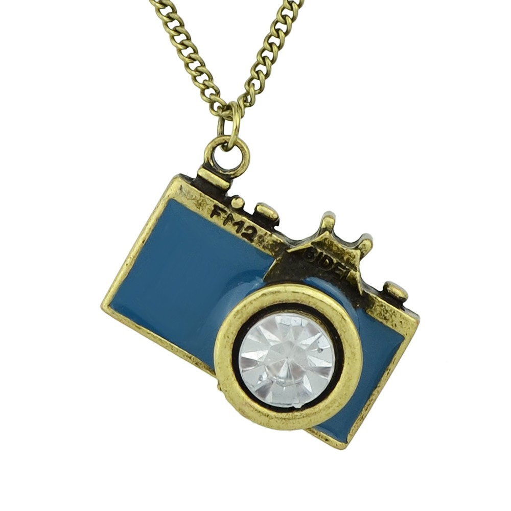 Enamel Camera Pendant Necklace