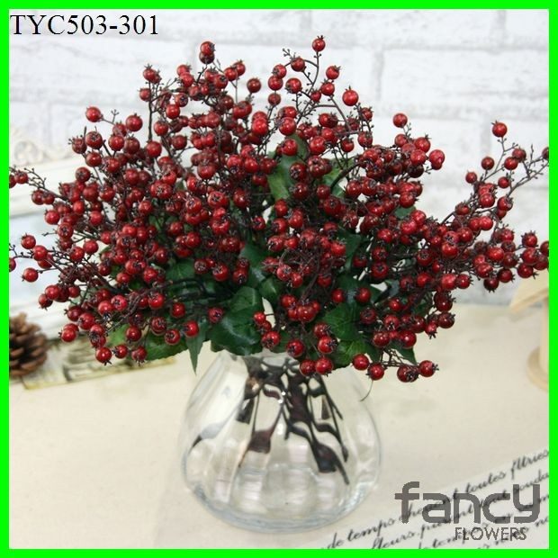 3 branches artificial plastic red berries