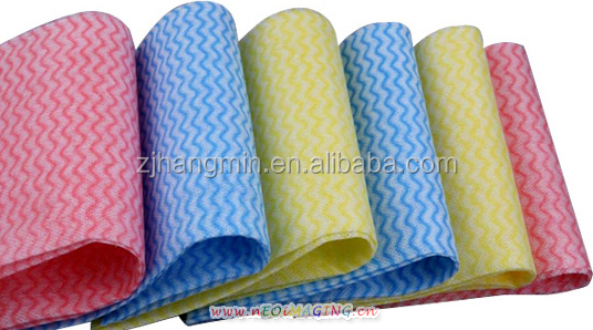 Customized Multipurpose colorful wave spunlace nonwoven cleaning cloth/ kitchen dish cloth/non-woven wipe perforated roll