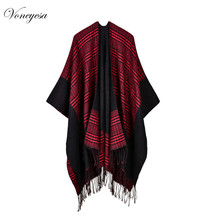 shawls and stoles online Wholesale in China Women Classic Plaid Capes with Tassel Knitted Poncho for Lady