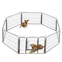 Dog Fence, Metal Wire Pet Playpen And Panel Pet Playpen With Door