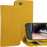 Geniune Leather Lucca Bookstyle case for iPhone 5S / 5 Washed Yellow Cow Leather