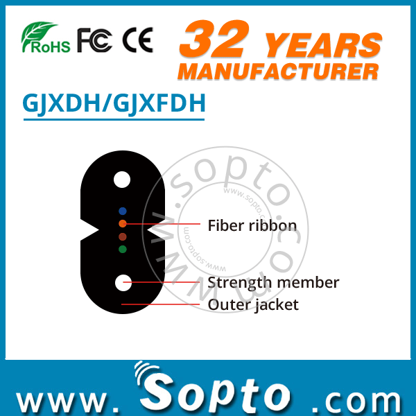 GJXDH GJXFDH Optical Fiber Ribbon Bow Type Drop Cable FTTH Indoor Cabling