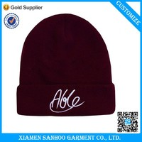 Fashion Plain Beanie For Men Embroidery Customized Winter Warm Wool Hat