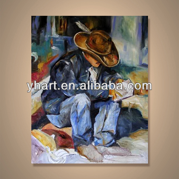 Modern handmade newest figure painting western art canvas---Cowboy