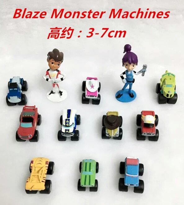 (New Arrival) 12pcs 3-7cm Blaze Monster Machines Action Figure, Custom Game Car Figures Supplier, Sliding Car PVC Figure