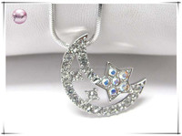 White gold plating crystal half moon and star pendant necklace