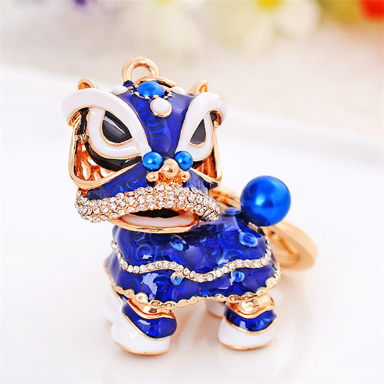 2016 new product hot selling wholesale lion dance lucky alloy keychains