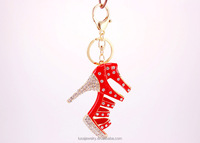 Fashion enamel rhinestone high heel shoe key chain manufacturer wholesale KEL0151