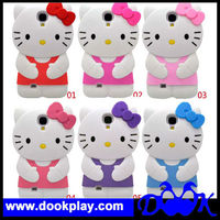 For Samsung Galaxy SIV S4 i9500 Cute 3D Hello Kitty Silicon Cover Case