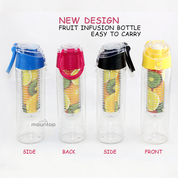 Cheap high quality bpa free plastic drink fruit infuser tritan water bottle with custom logo