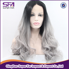 Grey synthetic hair lace front wig