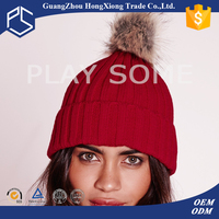 Red simple style with ball on top women winter knit beanie hat