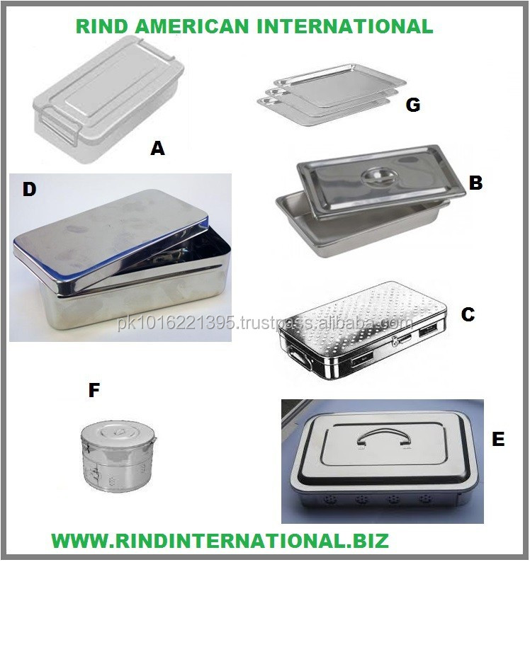 Stainless Steel Instruments Trays Surgical Boxes Sterilizing Boxes