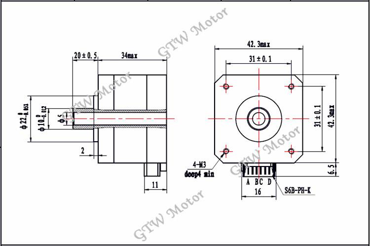 factory supply inside diameter 5mm nema 17 hollow shaft
