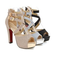New arrival summer good quality high-end PU high heel and large size shoes manufacturer directly wholesale shoes sandal