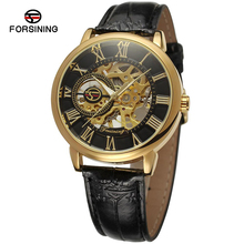 High Quality Leather Strap Manual Mechanical Watches Hot Sales Men Watches Forsining Fashion Mechanical Skeleton Watches