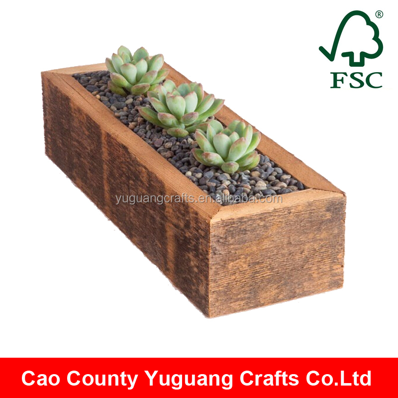 Yuguang Crafts Antique Distressed Small Wooden Box For Plants
