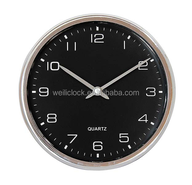 Modern black style aluminum quartz wall clock