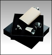 boxed gift set with flask and pen
