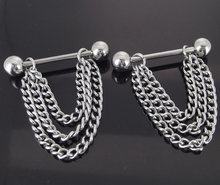 NEW Pair 14G Stainless Steel Chain Dangle Nipple Rings