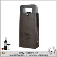 Accept Custom Logo Leather Material Wine Carrier