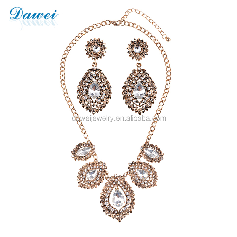 Ancient Gold Plating Indian Bride Fashion Wedding Accessories Set