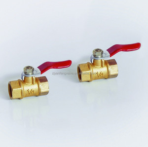 Double internel threaded Ball Valve with Red Handle