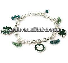 Most fashional epoxy green four leaf clover charm bracelet with silver plated