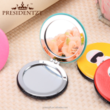 birthday gift PU 3 way vanity mirror,promotional item,promotional tin pocket mirror with personalized design