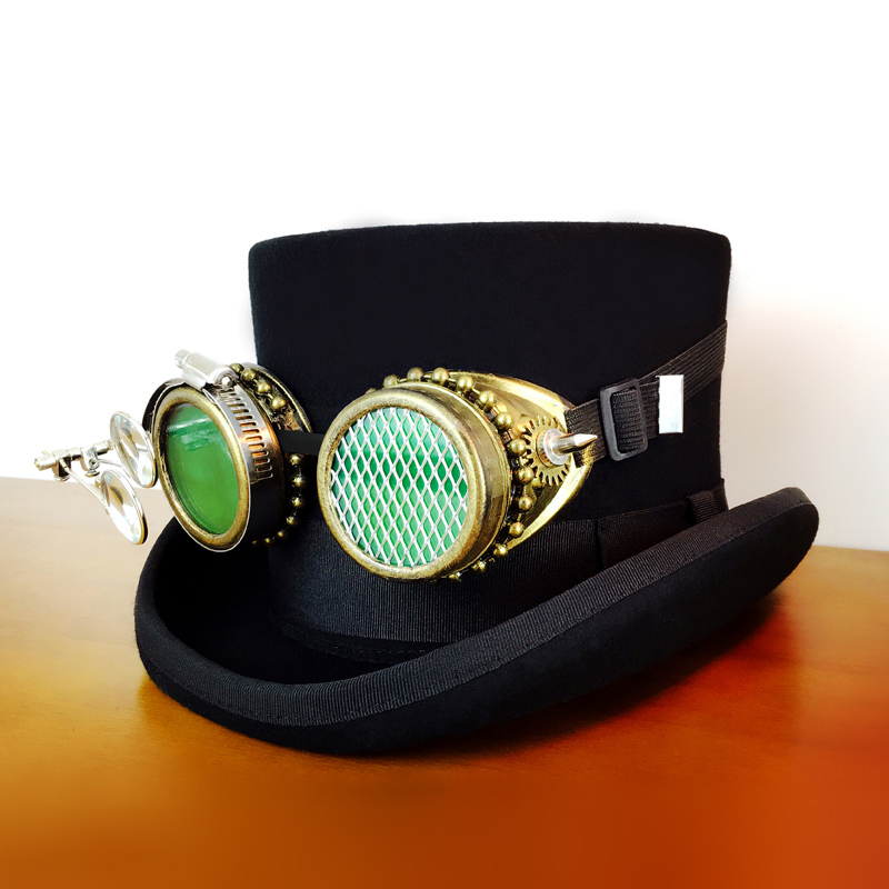 steam punk Black Top Hat With Metal Colour Glasses Decorative Luxury Hat
