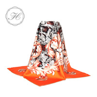 Beautiful tudung twill silk custom floral printed scarf
