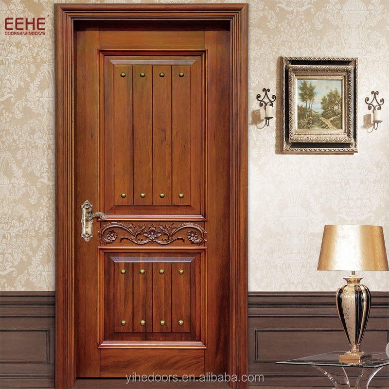 High End Design Solid Wood Shower Doors With Carving - Buy Solid ...