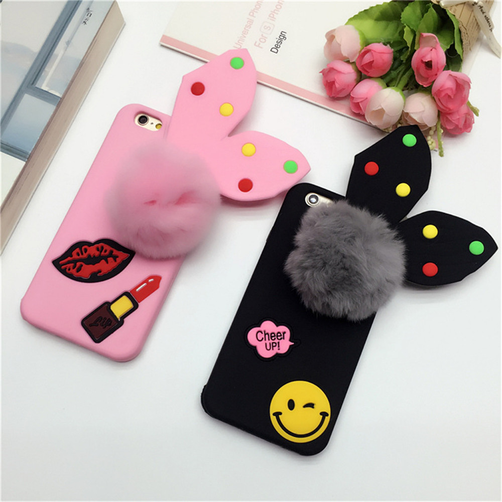 Cute Rabbit ears Plush Ball Mobile Silicone Phone Case Phone Cover