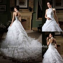 Gorgeous Lace Beads Ball Gown Halter Tiered Halter Organza Taffeta Cathedral Train Wedding Dress Bridal Gown