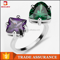 Manufacturer wholesale custom fashionable jewelry designs platinum plated artificial gemstone engagement ring