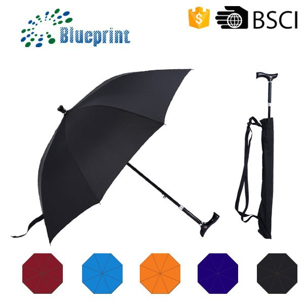 Straight Adjustable Crutch Cane Walking Stick Umbrella For Old Men