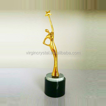 Wholesale Metal women star trophy with black crystal base for pageant trophies