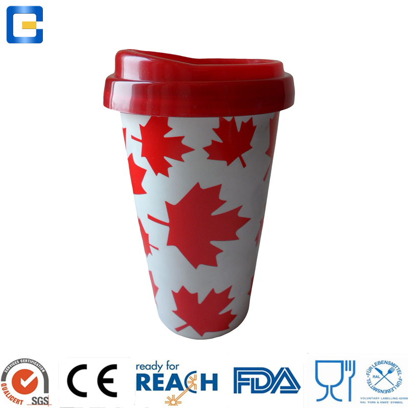 wholesales custom printed 7oz volume ceramic coffee mug without handle with silicon lid